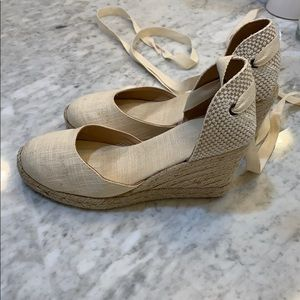 Soludos canvas ankle wrap wedges